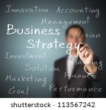 business man writing business strategy concept on whiteboard - stock photo