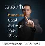business man evaluate excellent quality - stock photo