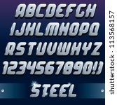 metallic 3d font. shiny design... | Shutterstock . vector #113568157