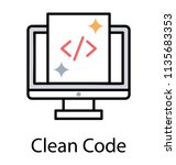 a html source code on laptop... | Shutterstock .eps vector #1135683353