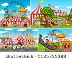 a set of carnival fun fair... | Shutterstock .eps vector #1135725383