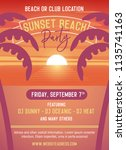 sunset party template for beach ... | Shutterstock .eps vector #1135741163