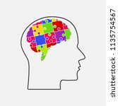 puzzle piece silhouette brain   ... | Shutterstock .eps vector #1135754567