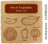 a large set of fresh vegetables.... | Shutterstock .eps vector #113580103