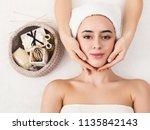 woman enjoying anti aging...   Shutterstock . vector #1135842143