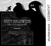 halloween vector card  or... | Shutterstock .eps vector #113584747