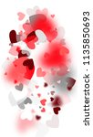 pink hearts falling on white... | Shutterstock .eps vector #1135850693