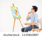 watercolor class.artists are... | Shutterstock . vector #1135863887