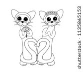 cats in love on the white... | Shutterstock .eps vector #1135865153