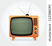 Cute retro TV set, orange cover and tiny antenna - stock vector