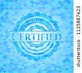 certified sky blue emblem.... | Shutterstock .eps vector #1135887623