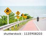 steep hill descent use low gear ...   Shutterstock . vector #1135908203
