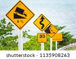 steep hill descent use low gear ...   Shutterstock . vector #1135908263