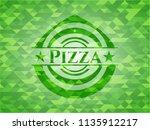 pizza realistic green emblem.... | Shutterstock .eps vector #1135912217