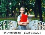 portrait of schoolgirl teenager ... | Shutterstock . vector #1135926227