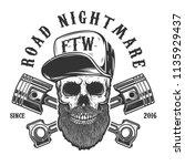 road nightmare. hipster skull... | Shutterstock .eps vector #1135929437