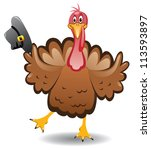 vector turkey clipart for thanksgiving day - stock vector