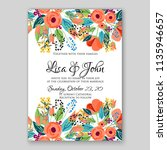 floral wedding invitation or... | Shutterstock .eps vector #1135946657