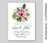 floral wedding invitation or... | Shutterstock .eps vector #1135946663
