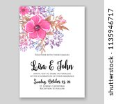 floral pink poppy wedding... | Shutterstock .eps vector #1135946717