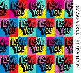 love you. hand lettering... | Shutterstock .eps vector #1135949723