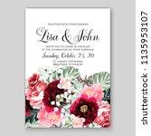 wedding invitation floral...   Shutterstock .eps vector #1135953107