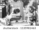 antique old vintage camera on... | Shutterstock . vector #1135981463