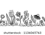 border with twigs and leaves in ... | Shutterstock .eps vector #1136065763