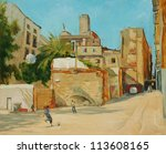 children playing football in a court yard,  illustration, painting - stock photo
