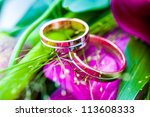 beautiful wedding bouquet whith rings - stock photo