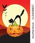 halloween night scene with...   Shutterstock .eps vector #113608807