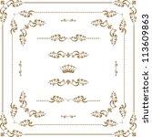 vector set of gold decorative... | Shutterstock .eps vector #113609863