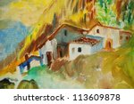 old houses in spanish village, illustration, painting - stock photo