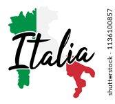 italy map silhouette flag... | Shutterstock .eps vector #1136100857