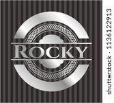 rocky silvery shiny emblem | Shutterstock .eps vector #1136122913