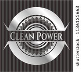 clean power silver emblem or... | Shutterstock .eps vector #1136135663