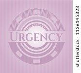 urgency pink emblem. vintage. | Shutterstock .eps vector #1136145323