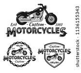 custom motorcycles shop badges... | Shutterstock .eps vector #1136155343