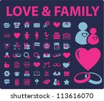 love & family icons set, vector - stock vector