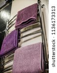 towels of different colors are... | Shutterstock . vector #1136173313
