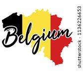 belgium map silhouette flag... | Shutterstock .eps vector #1136226653