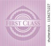 first class pink emblem | Shutterstock .eps vector #1136271227