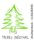 green christmas tree silhouette with merry christmas text - stock photo