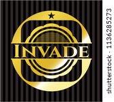 invade gold badge or emblem | Shutterstock .eps vector #1136285273