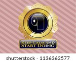 gold badge with toilet paper... | Shutterstock .eps vector #1136362577