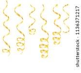 gold streamers. serpentine... | Shutterstock .eps vector #1136371217