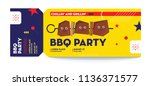 bbq party invitation voucher... | Shutterstock .eps vector #1136371577