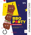 bbq party template for menu ... | Shutterstock .eps vector #1136371583