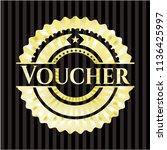 voucher golden badge | Shutterstock .eps vector #1136425997