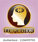 gold badge or emblem with head ... | Shutterstock .eps vector #1136455703